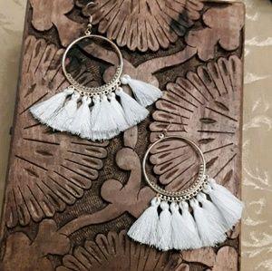 Jewelry - NEW White Bohemian Tassel/Fringe Earrings